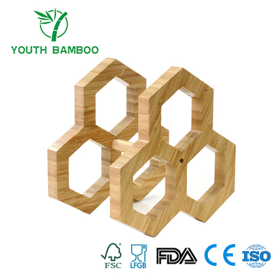 Bamboo Hexagon Stackable 3 Bottle Wire Rack