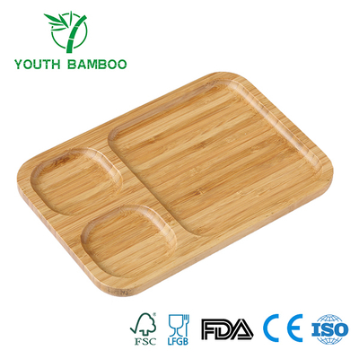 Bamboo Serving Tray With 3 Compartments