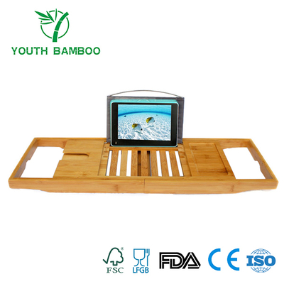 Bamboo Bathtub Caddy Tray With Reading Rack